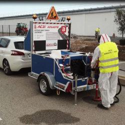Chantier mobile de carottage sur enrobés routiers